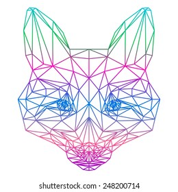 polygonal abstract gradient colored fox silhouette drawn in one continuous line isolated on a white background