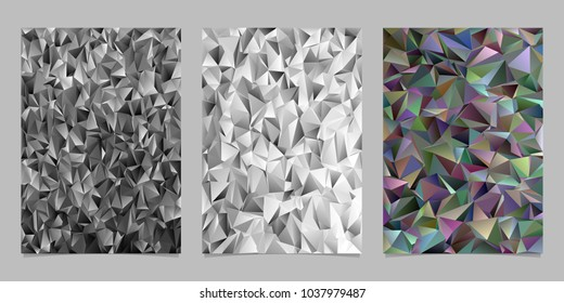 Polygonal abstract irregular triangle tile mosaic flyer background template set - vector stationery background designs
