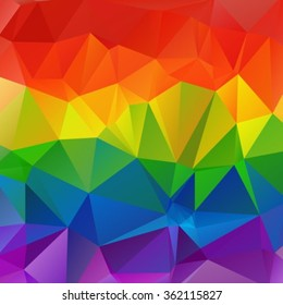 Polygonal abstract multicolored bright square rainbow background.