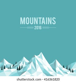 Polygonal abstract snow-capped mountains on grey background