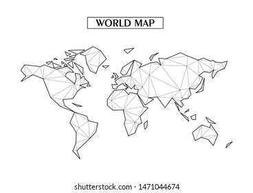 Polygonal abstract World map with connected triangular shapes formed from lines. Good poster for wall in your home. Decoration for room walls. Coloring book pages.