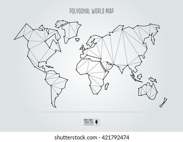 Polygonal abstract world map. Vector illustration.