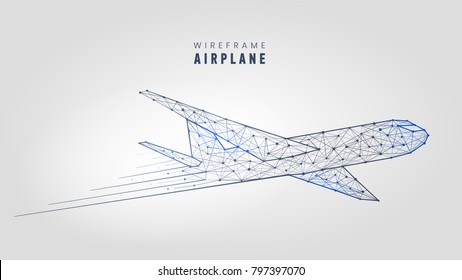 Polygonal airplane, wireframe structure. Abstract plane template. low poly mesh shape symbol on gray background, vector illustration