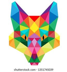 POLYGONAL ANIMAL FOX HEAD POLYGON LOGO ICON SET - Vector eps10