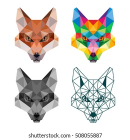 POLYGONAL ANIMAL FOX HEAD POLYGON LOGO ICON SET
