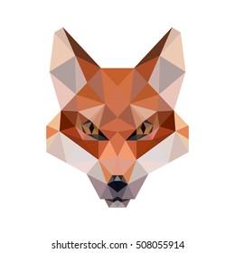 POLYGONAL ANIMAL FOX HEAD POLYGON LOGO ICON