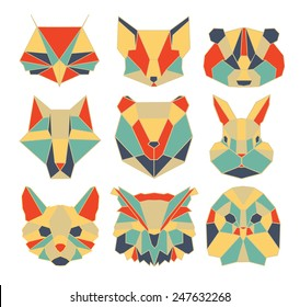 polygonal animal, wildlife, bird, bear, raccoon, vector, owl, graphic, wolf, cat, rabbit, dog, fox, cartoon