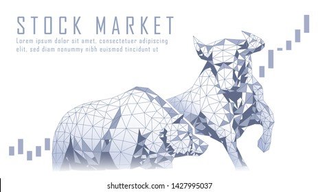 Polygonal art of Stock market Bullish vs Bearish trend suitable for Stock Marketing or Financial Investment