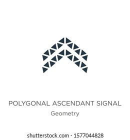 Polygonal ascendant signal icon. Thin linear polygonal ascendant signal outline icon isolated on white background from geometry collection. Line vector sign, symbol for web and mobile