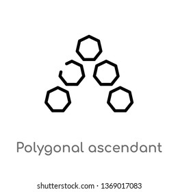 polygonal ascendant vector line icon. Simple element illustration. polygonal ascendant outline icon from geometry concept. Can be used for web and mobile