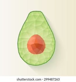 polygonal Avocado halves.
