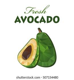 Polygonal avocado isolated on white background. Organic food vector. Fresh half tropical avocado. Vegetarian dish.