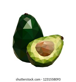 Polygonal avocado, low poly avocado, geometric vector illustration, isolated on white background.