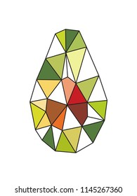 Polygonal avocado. Low poly. Triangles
