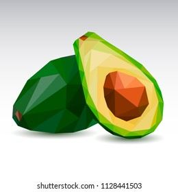 Polygonal avocado. Low poly. Vector illustration.
