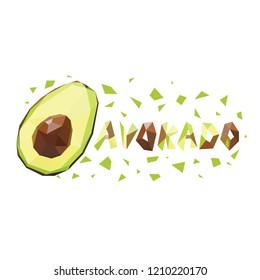 Polygonal avocado in white background