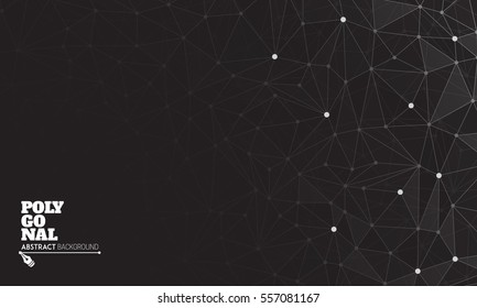 Polygonal background with connecting dots and lines. Vector illustration for your design.
