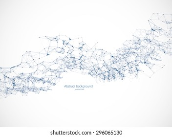 Polygonal background illustration, science, connection, blue