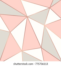 Polygonal background with rose gold frames. Vector illustration
