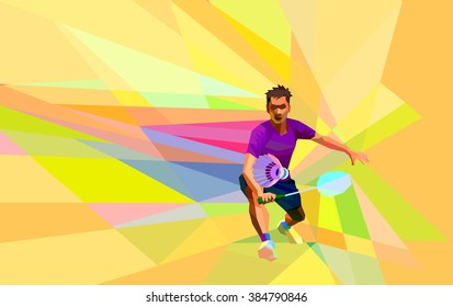 Polygonal badminton player on colorful low poly background