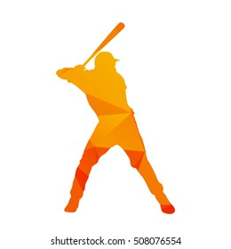 Polygonal baseball player silhouette, abstract isolated vector batter