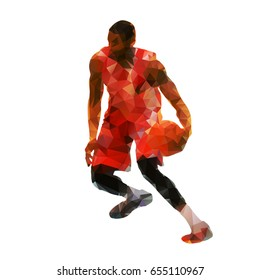 Polygonal basketball player with ball, abstract geometric vector silhouette, crossover dribbling
