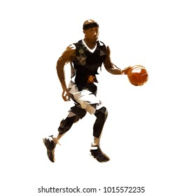 Polygonal basketball player running with ball, geometric vector illustration
