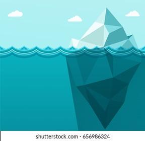 Polygonal big iceberg in ocean floating in sea waves. Metaphor b