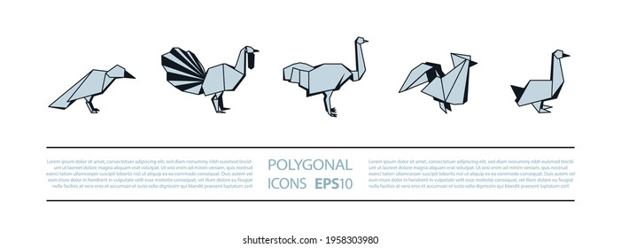 Polygonal Birds Linear Icons Set. Low poly poultry bird icon for banner such as crow, turkey, ostrich, rooster and goose.