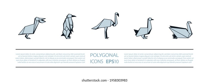 Polygonal Birds Linear Icons Set. Low poly waterfowl bird icon for banner such as pelican, penguin, flamingo and swan.