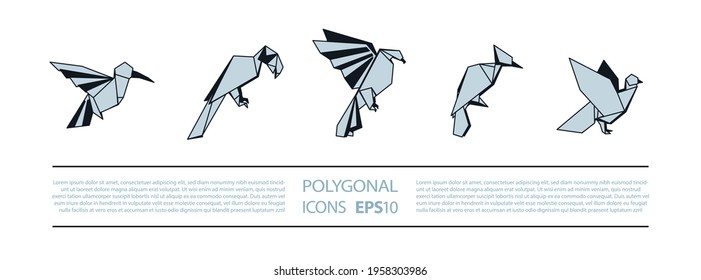 Polygonal Birds Linear Icons Set. Low poly bird icon for banner such as hummingbird, parrot, eagle, woodpecker and pigeon.