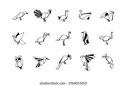 Polygonal Birds Linear Icons Set. Low poly bird logo.