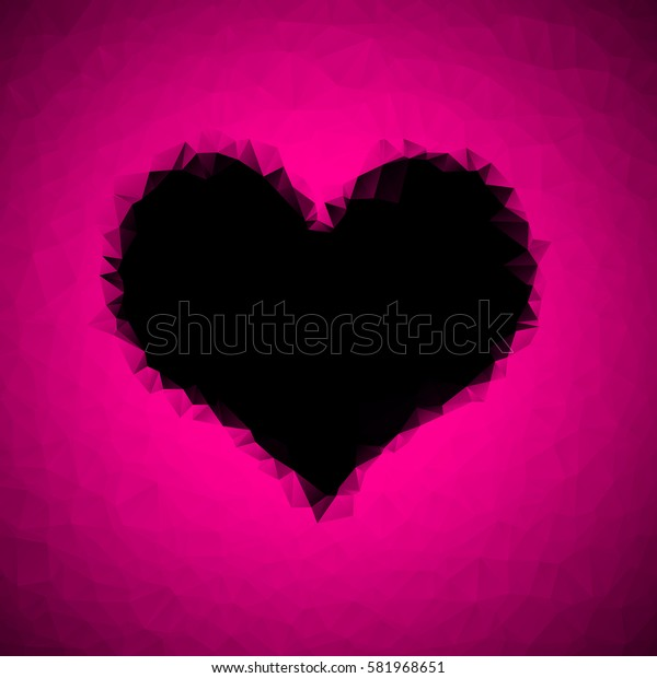 polygonal black heart on a pink background