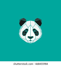 Polygonal black and white abstract panda head on green background. Vector illustration. Web design page icon element.