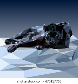 Polygonal black wild panther. Triangle polygonal vector illustration.Low poly style.