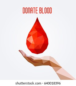 Polygonal blood drop and hand poster, blood donation concept.  Vector illustration.
