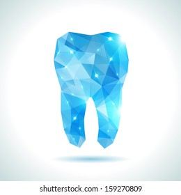 Polygonal blue vector tooth. Abstract illustration. Dental background in origami style.