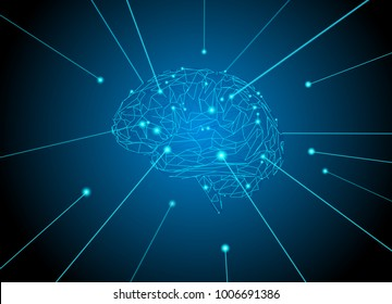 Polygonal brain shape drawing from glowing laser conceptual on dark background