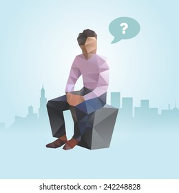 Polygonal businessman searching for idea