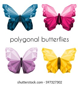 polygonal butterflies illustration set. low-poly yellow, blue,purple, pink butterfly
