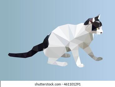 polygonal cat. polygon geometric triangle animal. isolated vector