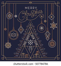 Polygonal Christmas And New Year Typographical Background. Vector illustration EPS10. postcard, art deco linear style with decorative abstract balls.