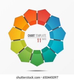 Polygonal circle chart infographic template with 11 parts, options, steps for presentations, advertising, layouts, annual reports. Vector illustration.