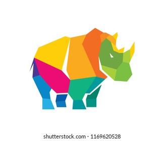 Polygonal Colorful Triangular Rhinoceros Logo In White Isolated Background