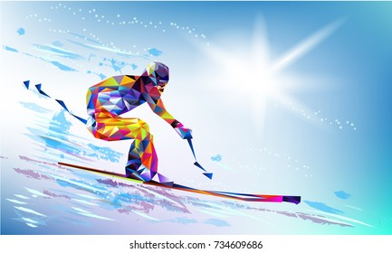 The polygonal colourful triangles figure of a young man snowboarding with on a white and blue background. Vector illustration in a geometric triangle of XXIII style Winter games