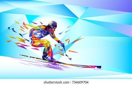 The polygonal colourful triangles figure of a young man snowboarding with on a white and blue background. Vector illustration  in a geometric triangle of XXIII style Winter games.