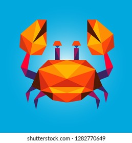 Polygonal crab Vector On a Blue background.