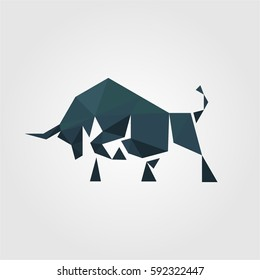 polygonal creative media bull logo concept for business company and organization