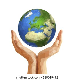 polygonal cupped hands that hold polygon planet earth europe white