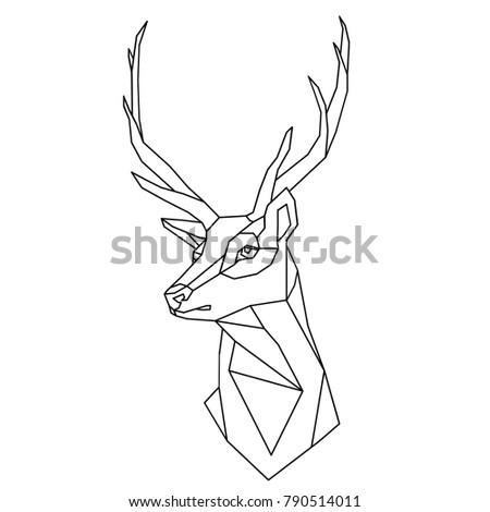 Polygonal Deer Head With Horns Outline Vector Illustration